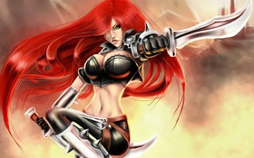Картинка девушка, оружие, арт, league of legends, katarina