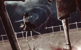 Картинка шторм, оружие, аниме, парень