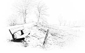 Картинка зима, природа, стиль, парк, скамья