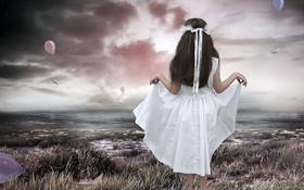 Обои girl, sea, romantic, photomanipulation, child