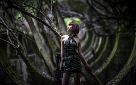 Обои азиатка, штурмовая винтовка, развалины, граната, девушка, оружие