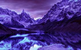 Обои небо, снег, природа, озеро, Горы