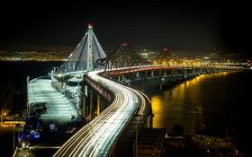 Обои ночь, мост, огни, залив, сша, San Francisco