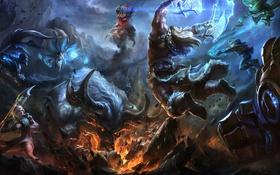 Обои League of Legends, фентези, игра, битва