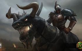 Обои монстр, воин, шлем, доспех, Heroes of Newerth, Rampage, Wyvern Ultimate Rampage