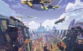 Картинка небо, облака, город, корабль, планета, поезд, дома