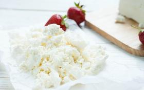 Обои ягоды, клубника, творог, молочный продукт