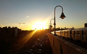 Обои queens, rail, nyc, new york, sunset, city