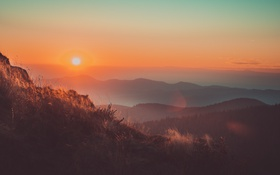Обои облака, восход, холмы, силуэт, оранжевый небо