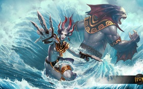 Обои море, волны, вода, hon, Heroes of Newerth, New Riptide Model