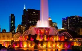 Картинка ночь, город, ночные огни, фонтан