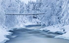 Картинка зима, мостик, снег, река