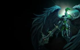 Обои фон, крылья, меч, арт, шлем, броня, League of Legends