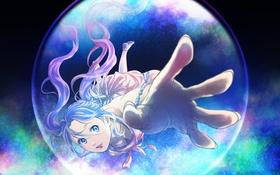 Обои девушка, аниме, арт, браслет, пузырь, marichi