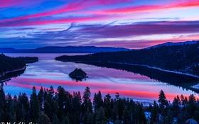 Обои лес, деревья, горы, природа, озеро, островок