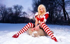 Картинка зима, снег, деревья, блондинка, латекс, красные, red