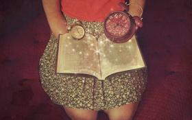 Обои часы, будильник, книга