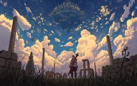 Картинка nauimusuka, арт, аниме, драконы, город, облака, девушка