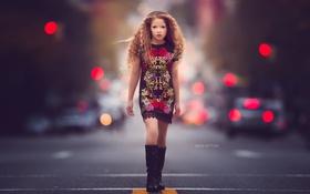 Картинка город, улица, девочка