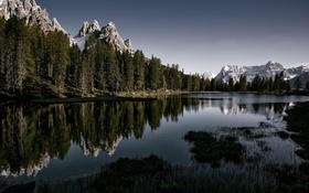 Обои природа, лес, горы, отражение, озеро