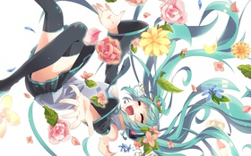 Обои цветы, hatsune miku, арт, микрофон, аниме, девушка, радость
