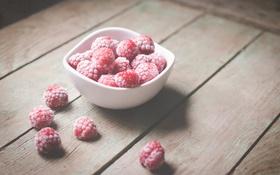 Обои ягоды, малина, тарелка, миска