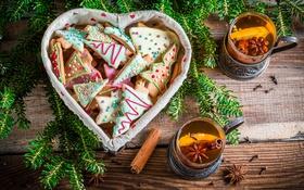 Обои чай, елка, печенье, Новый год, корица, Christmas, выпечка