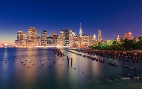 Обои nyc, usa, new york, night, lights