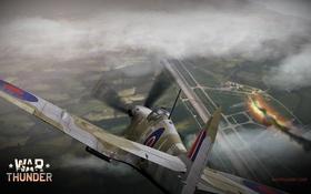 Обои огонь, пламя, дым, истребитель, бомбардировщик, аэродром, британский