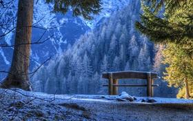 Обои скамья, горы, природа