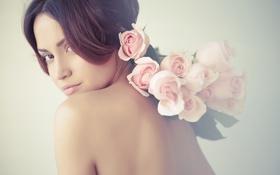 Картинка девушка, цветы, лицо, прическа, girl, flowers, face