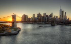 Картинка United States, sunset, Brooklyn, Manhattan, Brooklyn Bridge, One World Trade Center, 1WTC