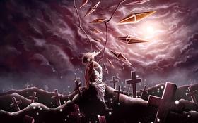 Картинка девушка, тучи, луна, кресты, крылья, арт, кристаллы