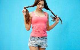 Картинка лицо, стена, волосы, шорты, конфета, милашка, Darina