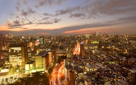 Обои огни, дома, небоскребы, Токио, сумерки, мегаполис