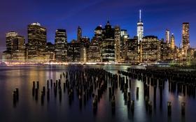 Обои город, огни, река, здания, Нью-Йорк, небоскребы, вечер