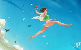 Картинка небо, девушка, прыжок, карандаш, art, nababa
