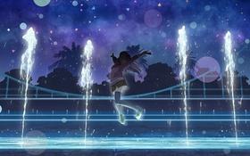 Обои sato_atsu, школьница, форма, фонтан, арт, аниме, ночь