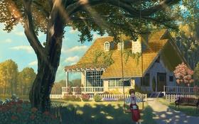 Картинка nauimusuka, арт, аниме, розы, качели, дом, природа