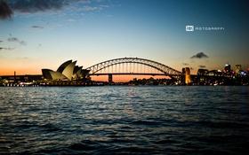 Обои закат, мост, Австралия, Сидней, Motograffi Photography, оперный театр