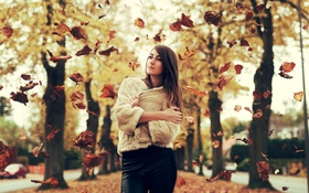 Картинка девушка, осень, листья