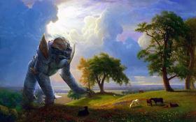 Обои art, пейзаж, Kaiju, гигант