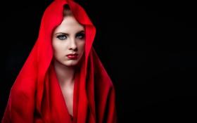 Картинка red, girl, Model, Christina, hood