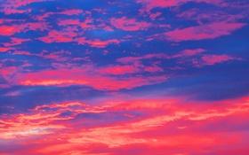 Обои небо, облака, краски, зарево