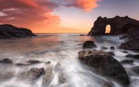 Обои закат, пейзаж, скалы, море