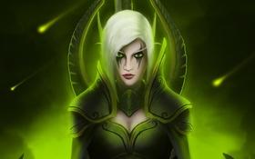 Картинка девушка, арт, World of Warcraft, белые волосы, Maiev Shadowsong
