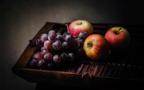 Обои столик, натюрморт, яблоки, фрукты, виноград