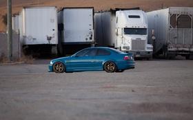 Обои бмв, blue, синий, прицепы, bmw, e46, грузовик