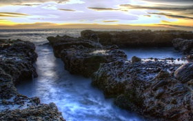 Картинка море, камни, рассвет, побережье, горизонт, Калифорния, США