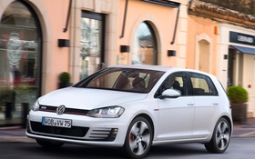 Обои 2013, car, white, Golf, 5-door, GTI, Volkswagen